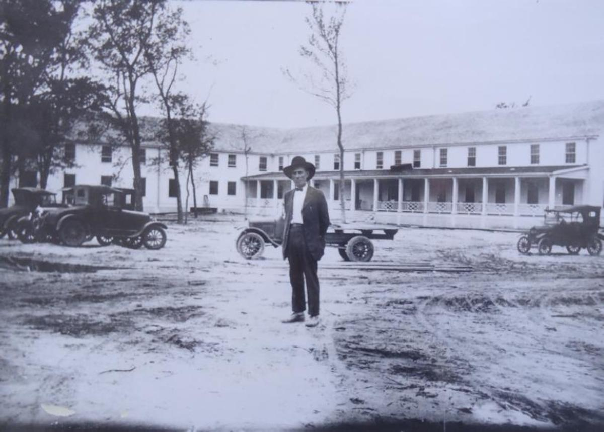 Sheriff of Pine Valley in front of the Pine Valley Hotel