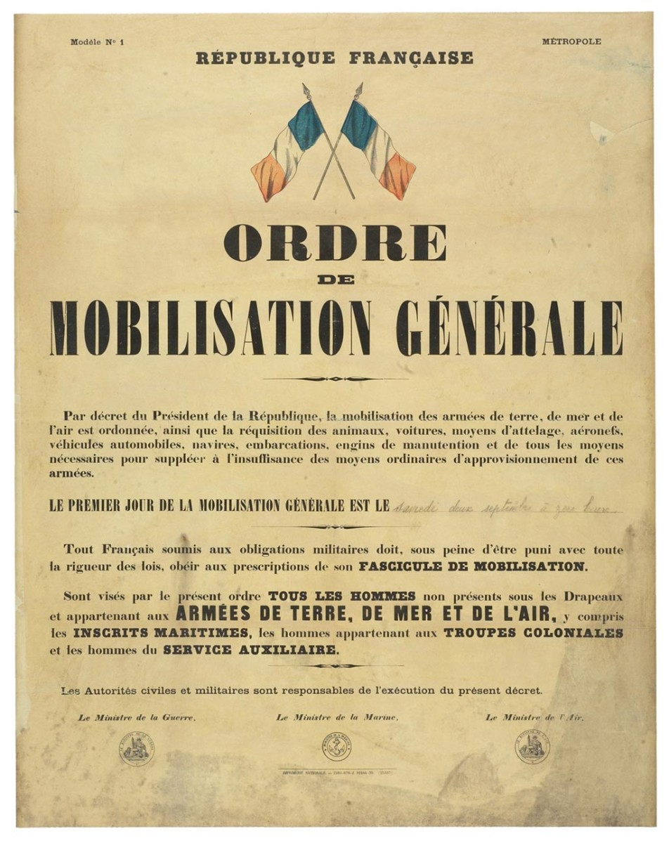 The French 1939 general mobilization order