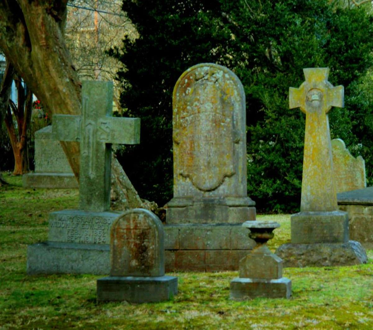 Graves in one of the oldest churchyards in North Carolina