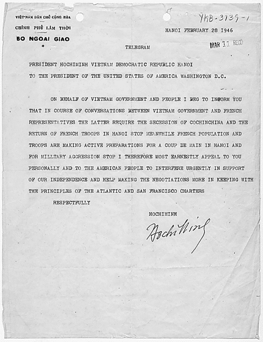 Ho Chi Minh's telegram to FDR.