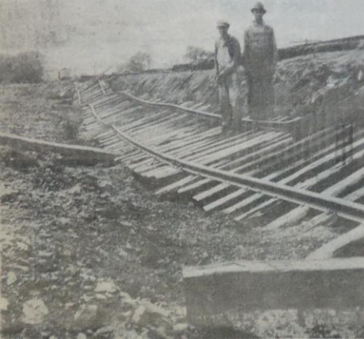 1929 Flood that damaged the rail lines in Wister
