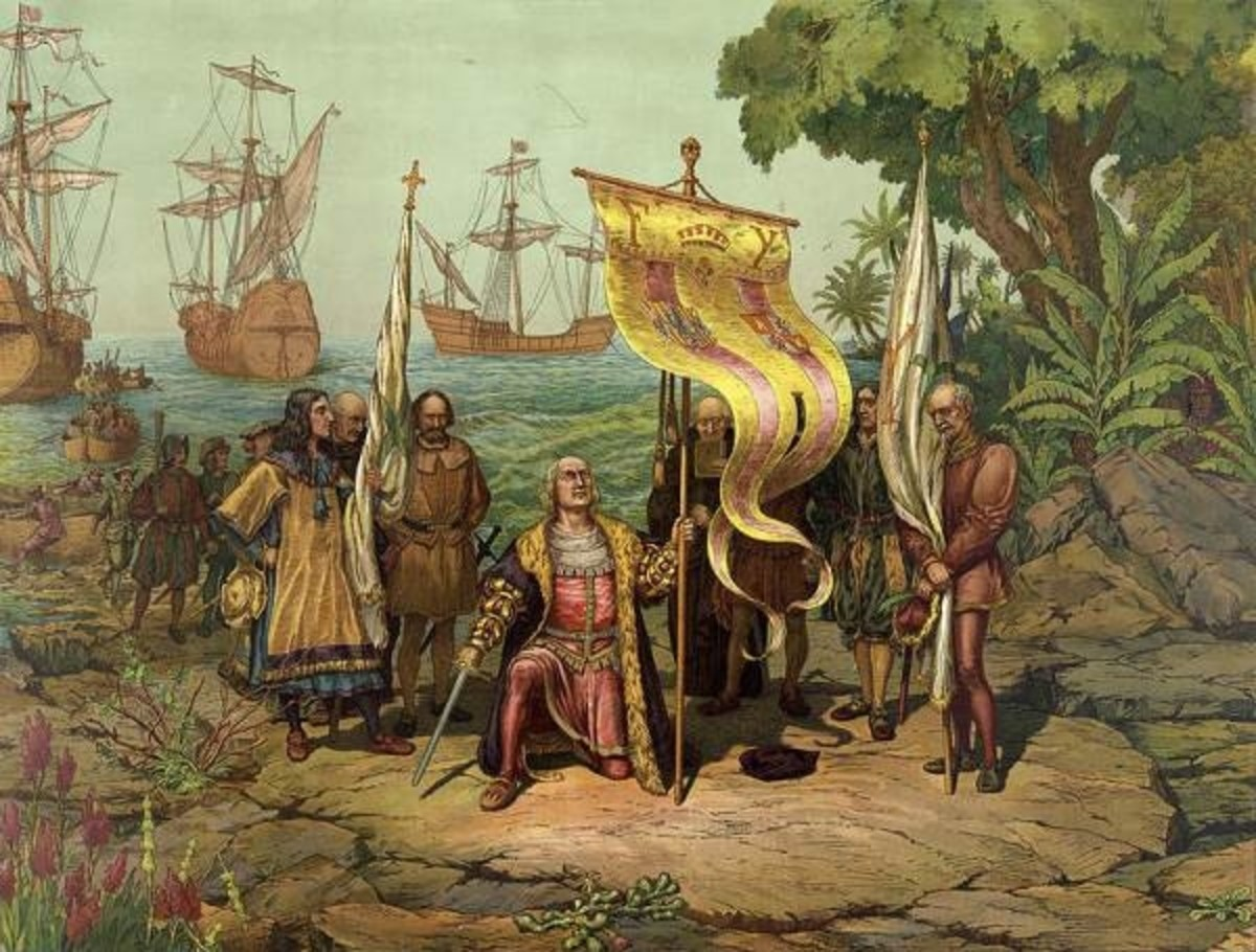 Columbus sets foot in the Bahamas at Watling Island, which is nowadays referred to as San Salvador Island