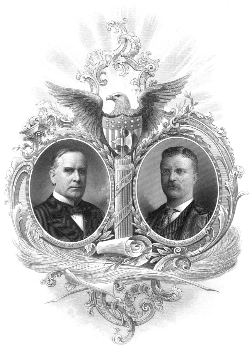 Engraved portraits of President William McKinley and Vice President Theodore Roosevelt from a souvenir booklet published for their inauguration in 1901