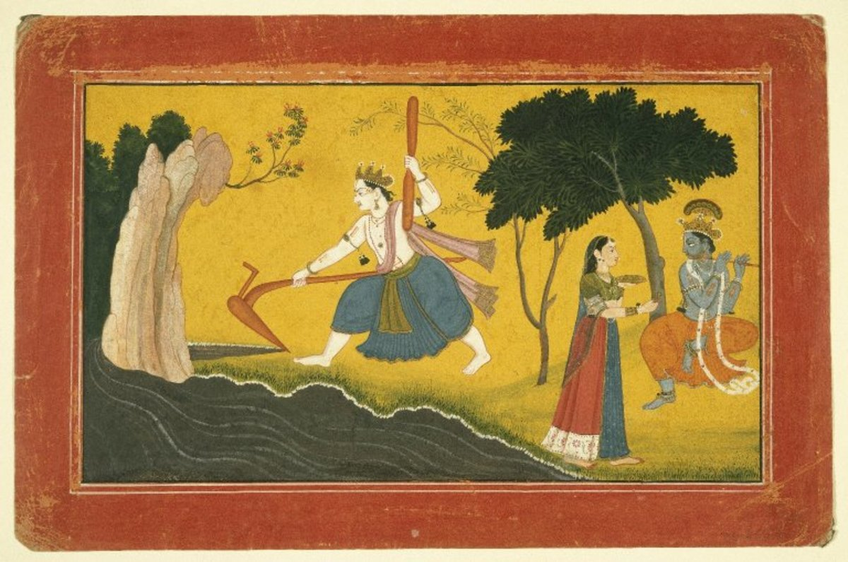Balamara Diverting the Course of the Yamuna River with his Plough
