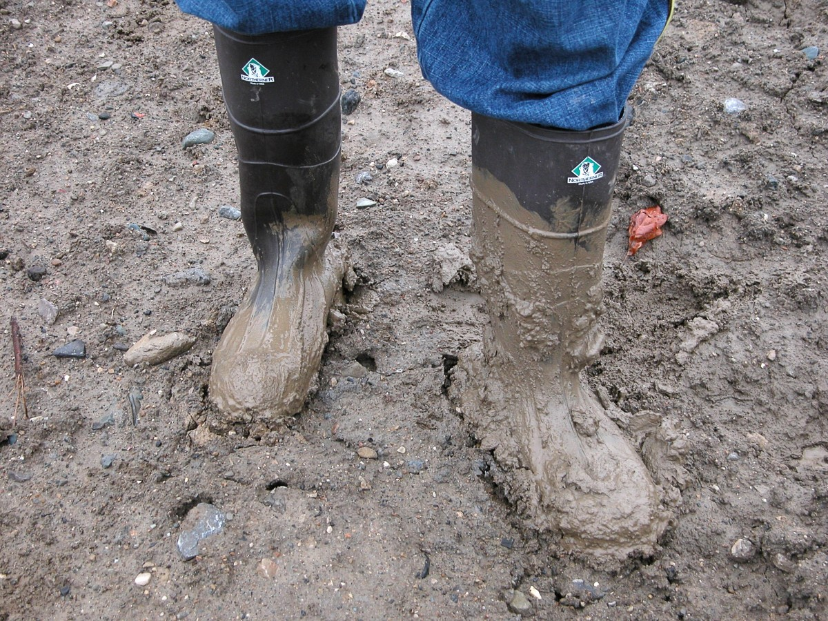 Boots are very useful when travelling through mud.