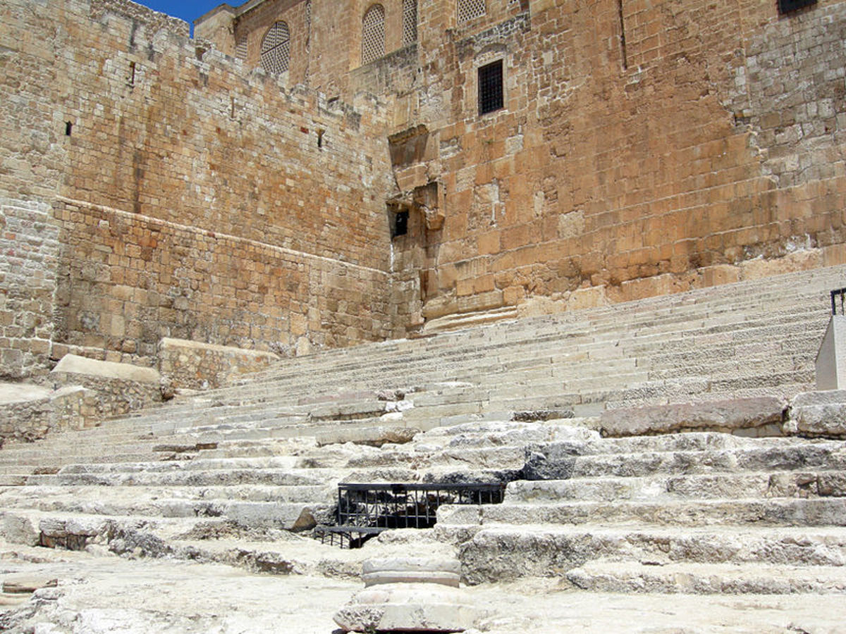 Steps leading up to the courtyard of the Temple of Jerusalem, excavated by Benjamin Mazar