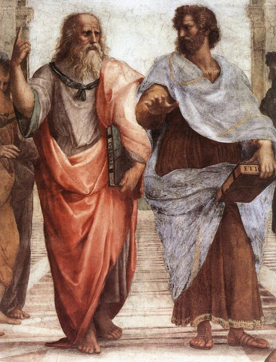 As old man, Plato (left) and Aristotle (right),  Aristotle gestures to the earth, representing his belief in knowledge through empirical observation and experience, Plato gestures to the heavens, representing his belief in The Forms.