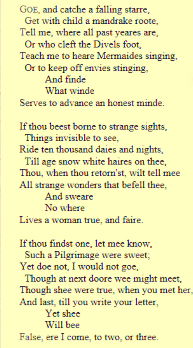 The original poem as penned by John Donne