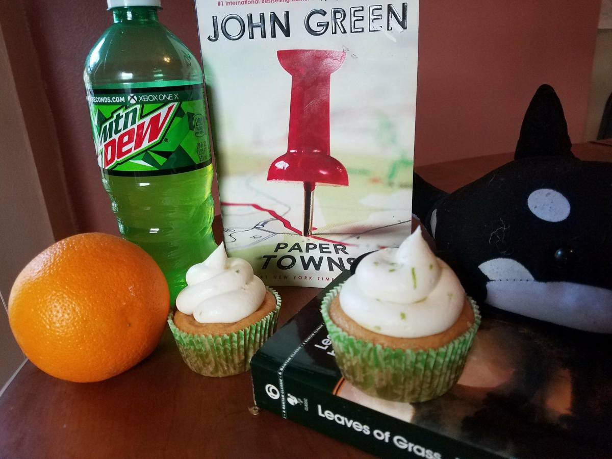 Mountain Dew cupcakes with citrus frosting.