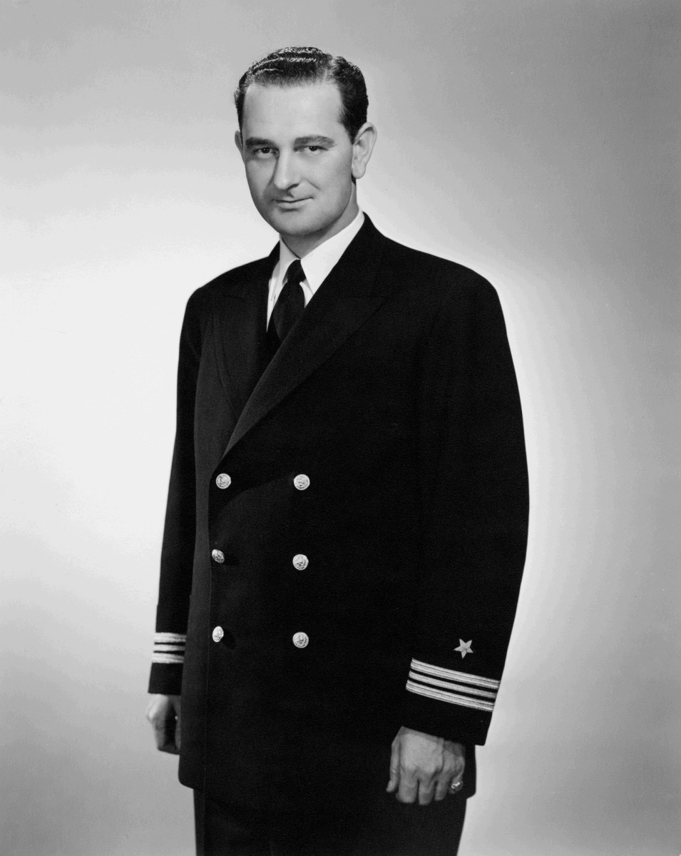 Lyndon Baines Johnson in navy uniform.
