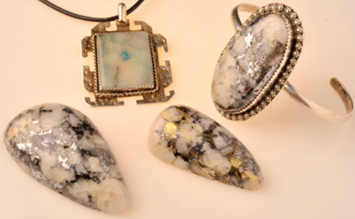 Cody stone jewelry - silver and gold in quartz mined in the Catalina Mountains, Arizona. Stones like these came from the Cody Mines, hence the name.