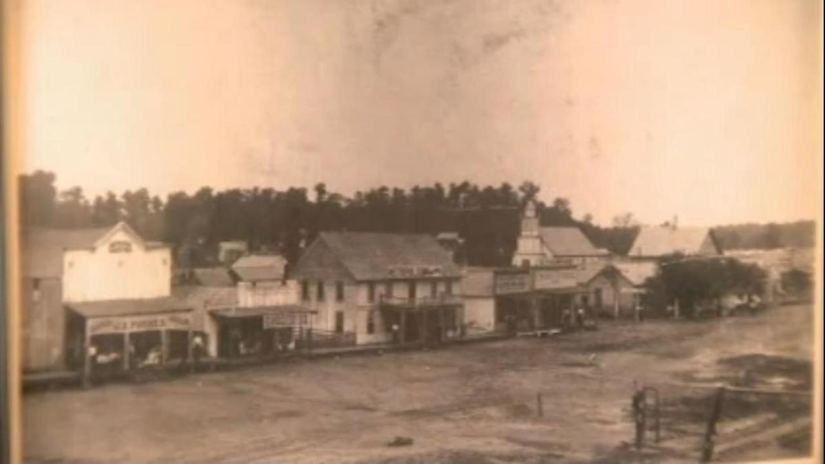 Old Town Poteau Switch; businesses along Broadway in the late 1800's.