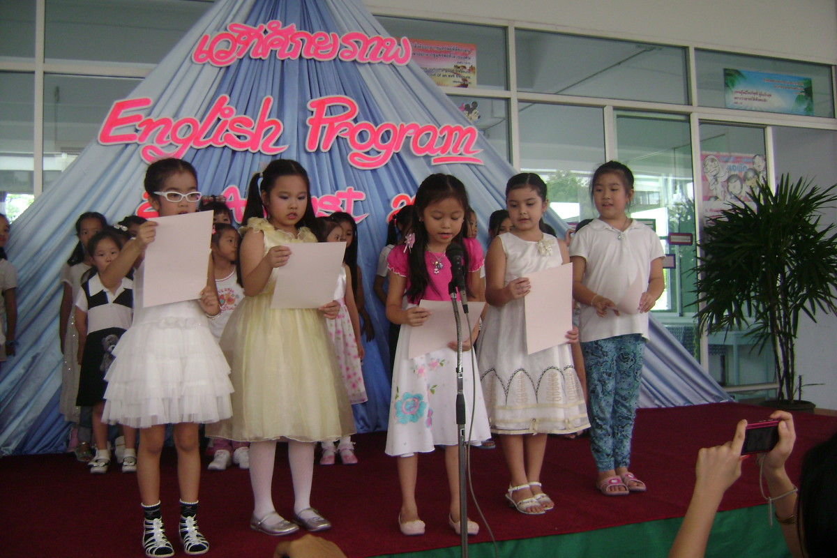 An English Program performance for parents on a Saturday morning at Saint Joseph Bangna School.