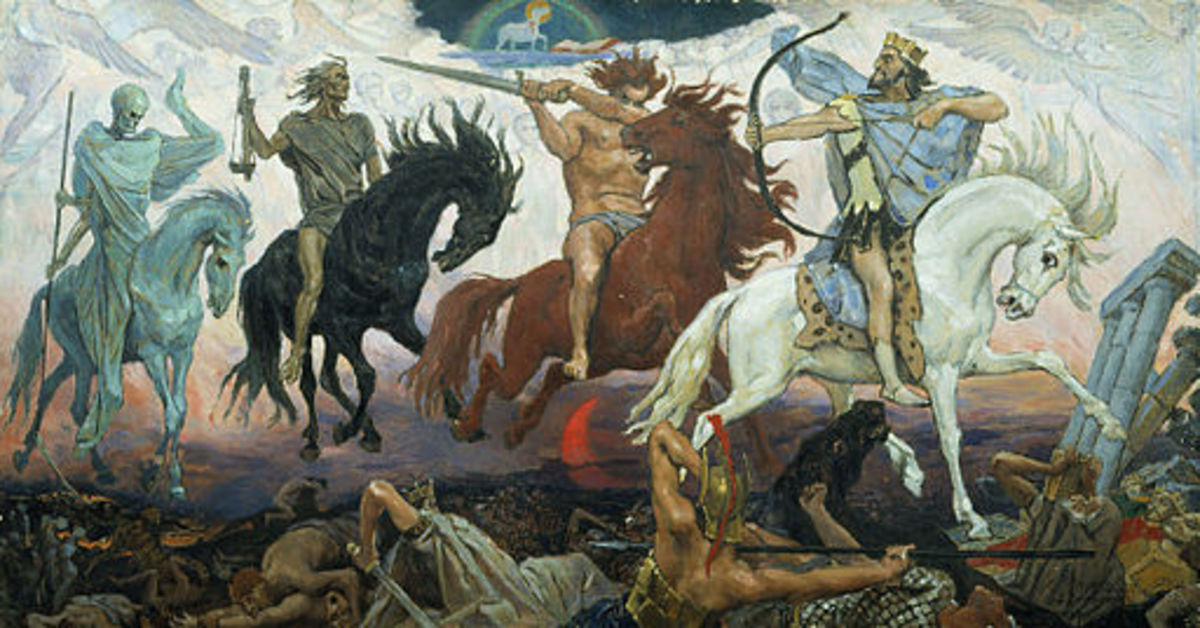 "Four Horsemen of Apocalypse,  (by Viktor Vasnetsov. Painted in 1887) Synge's ""Riders to the Sea"" is a definite echo of these archetypes"