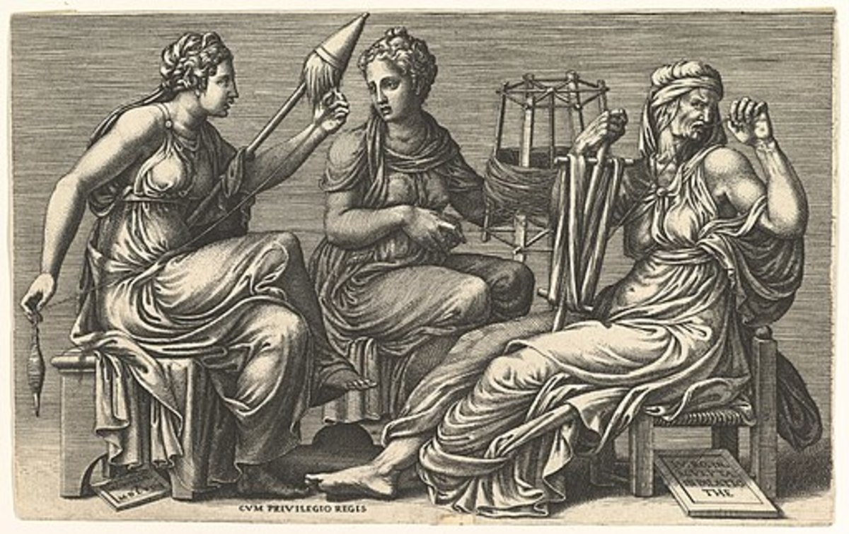 The Three Fates Clotho, Lachesis, and Atropos. Synge's three women become reminiscent of these classical sisters of destiny.