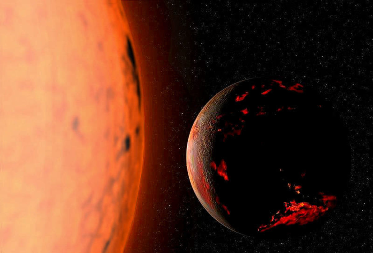Artist's impression of the Earth scorched by our Sun as it enters its red giant phase.