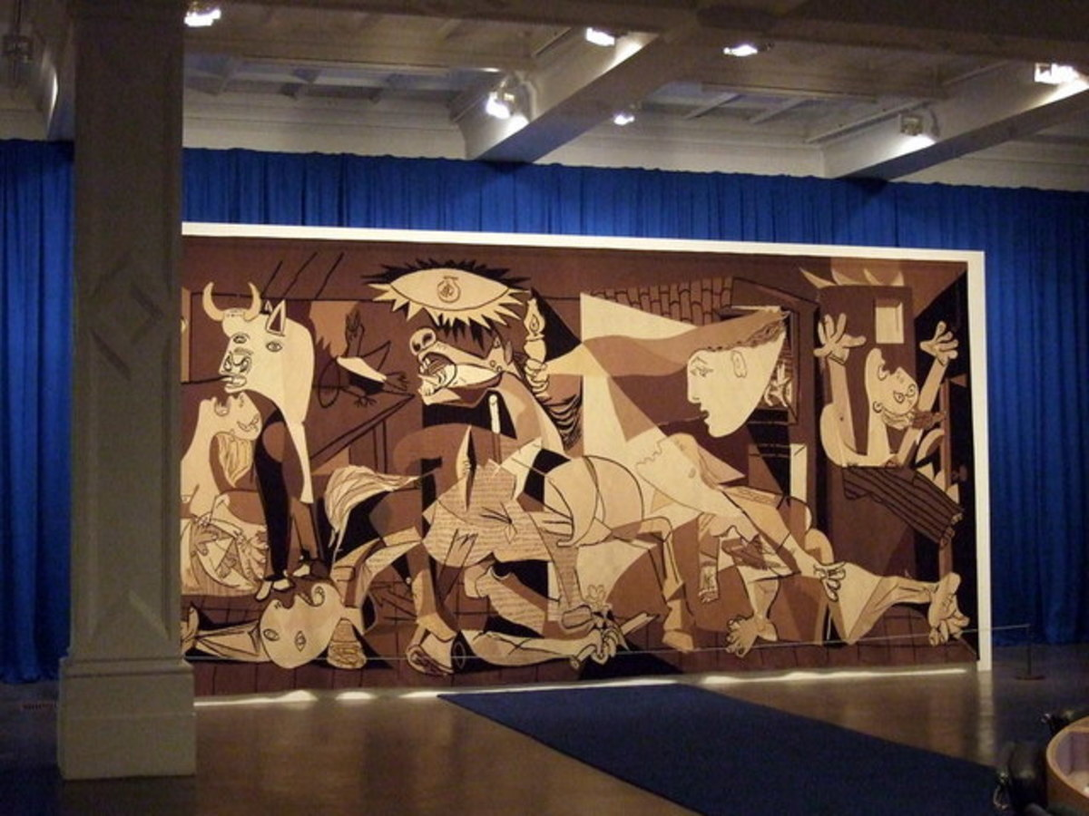 Tapestry of Picasso's Guernica, by Jacqueline de la Baume Durrbach, at the Whitechapel Gallery in London. Guernica represents the suffering of people during the Civil War.