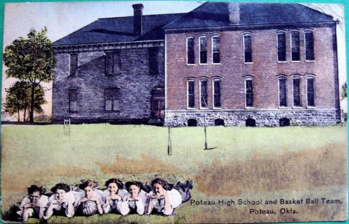 Poteau School around 1911, featuring the Girls Basketball Team