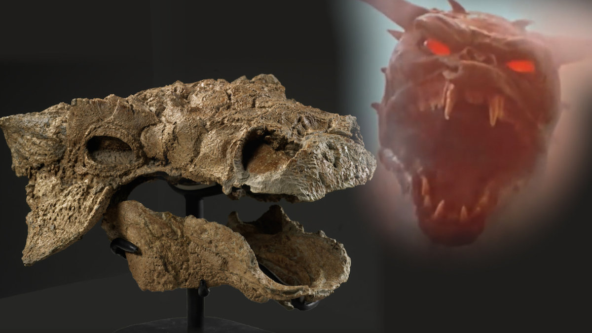 The skull of Zuul next to an image of its namesake from Ghostbusters (1984).