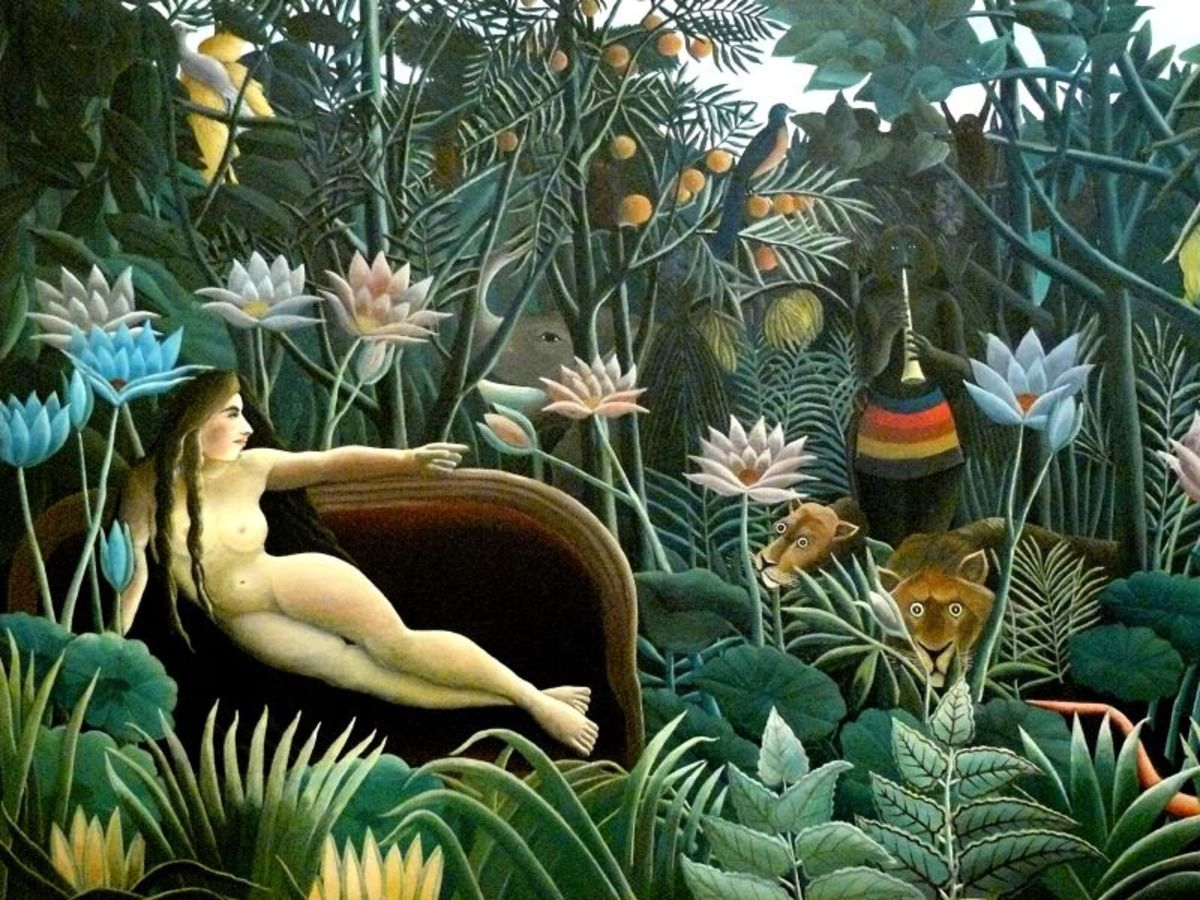 "Henri Rousseau. The Dream. 1910. Oil on canvas, 6' 8 1/2"" x 9' 9 1/2"" (204.5 x 298.5 cm). Gift of Nelson A. Rockefeller"