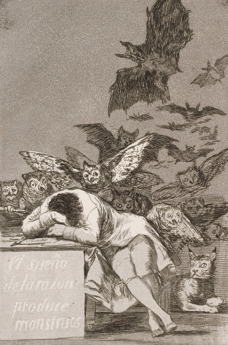 The sleep of reason produces monsters (No. 43), from Los Caprichos
