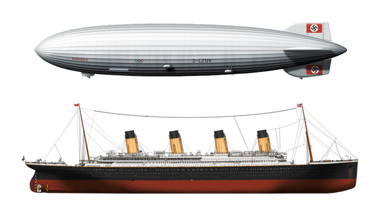 The Hindenburg was nearly the same size as the Titanic.