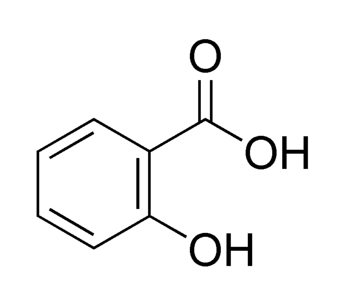 The chemical structure of Salicylic acid, Asprin's active ingredient.
