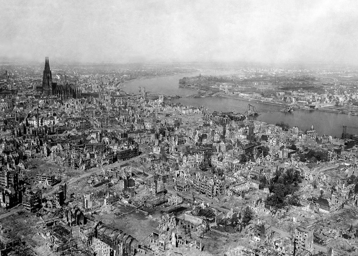 Cologne Germany 1945 all of Germany's largest cities were laid to waste by the brute force of the American and British bombers. Vast legions of Allied bombers roamed the skies over Germany night and day until the Fatherland was totally destroyed.