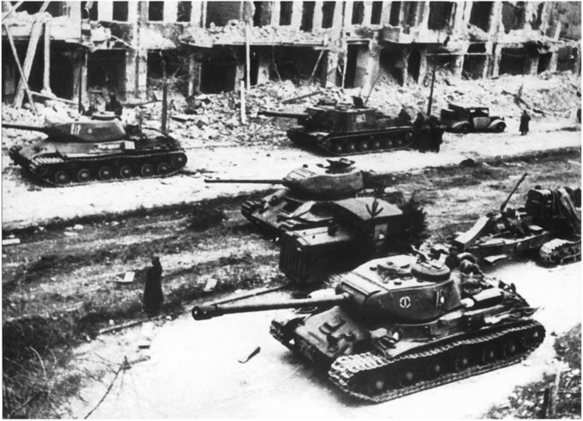 Soviet tanks on the streets of Berlin April 1945.
