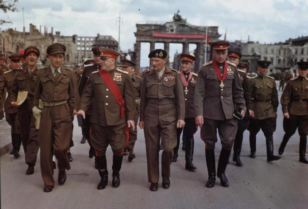 The Allies in Berlin summer of 1945. British Field Marshal Montgomery the hero of El Alamein August 1942 in the center, and on his left Soviet Marshal Zhukov hero of The Battle for Moscow December 1942.