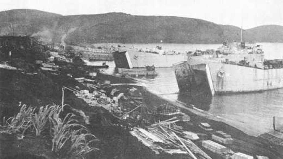 The landing on Kiska Island.