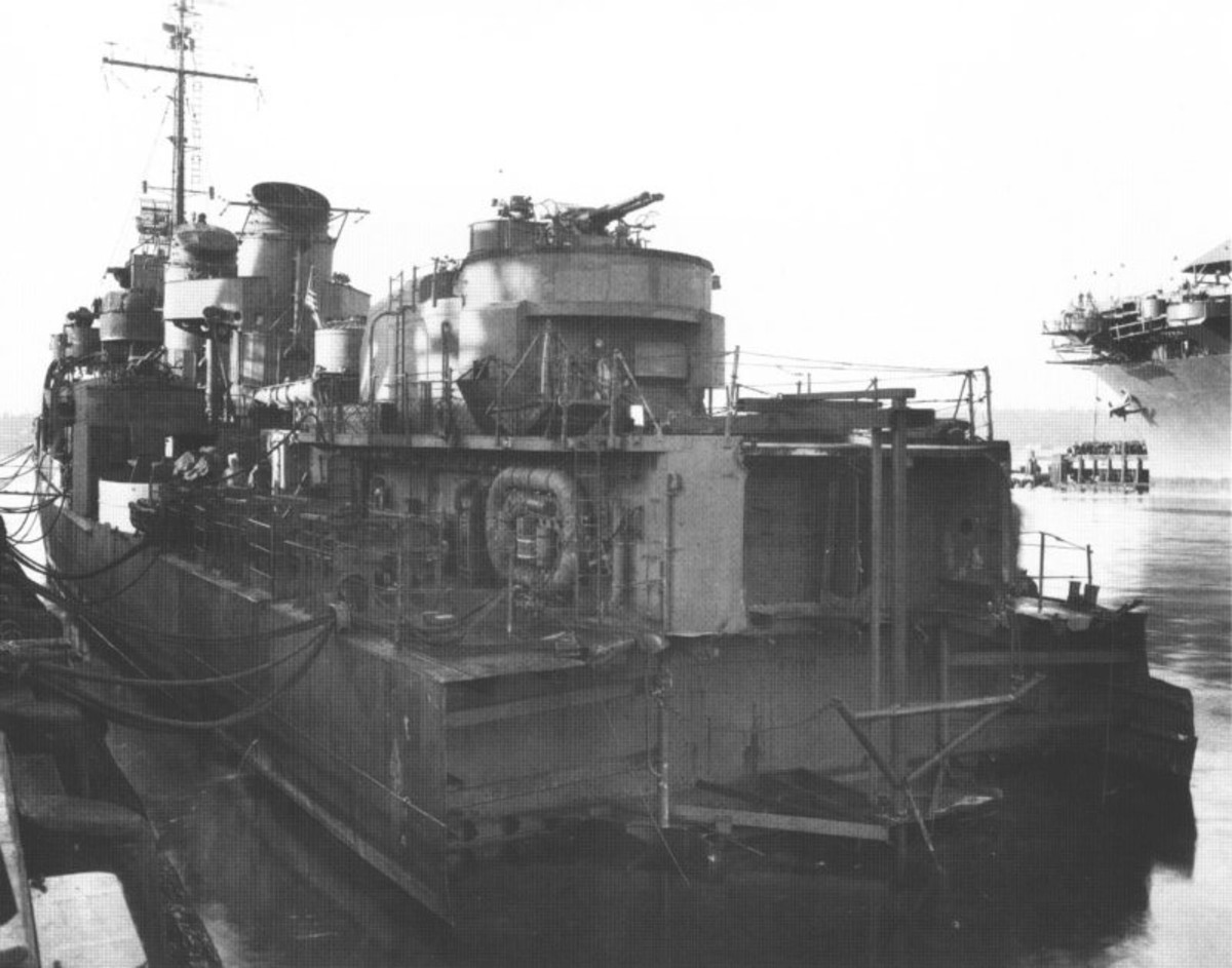USS Abner Read missing most of her stern.