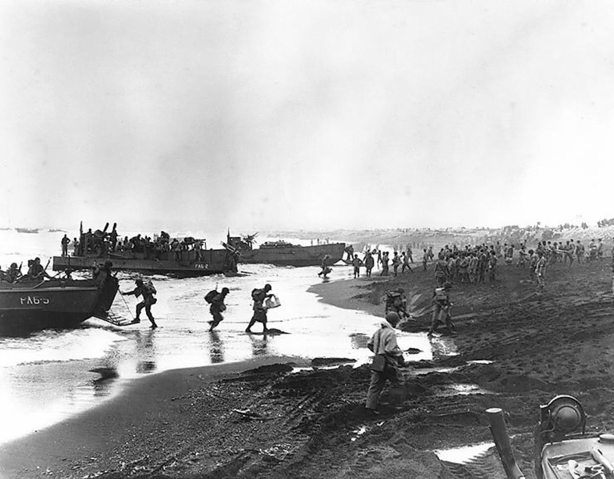 U.S. soldiers landing at the unfortunately named Massacre Bay, Attu.