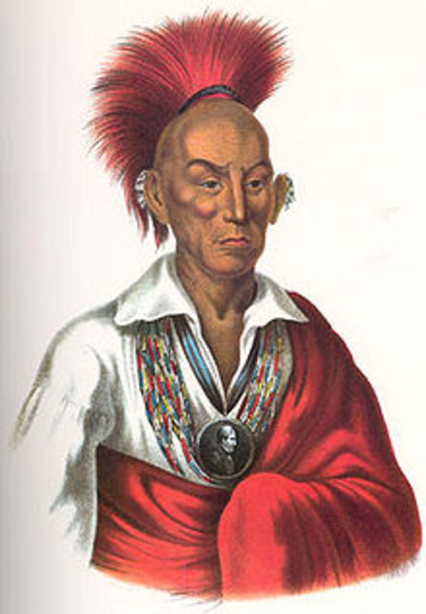 In 1832 Black Hawk, a Sauk-Fox Indian, lead a short war against the U.S. The war ended when Black Hawk was captured and imprisoned for a year.