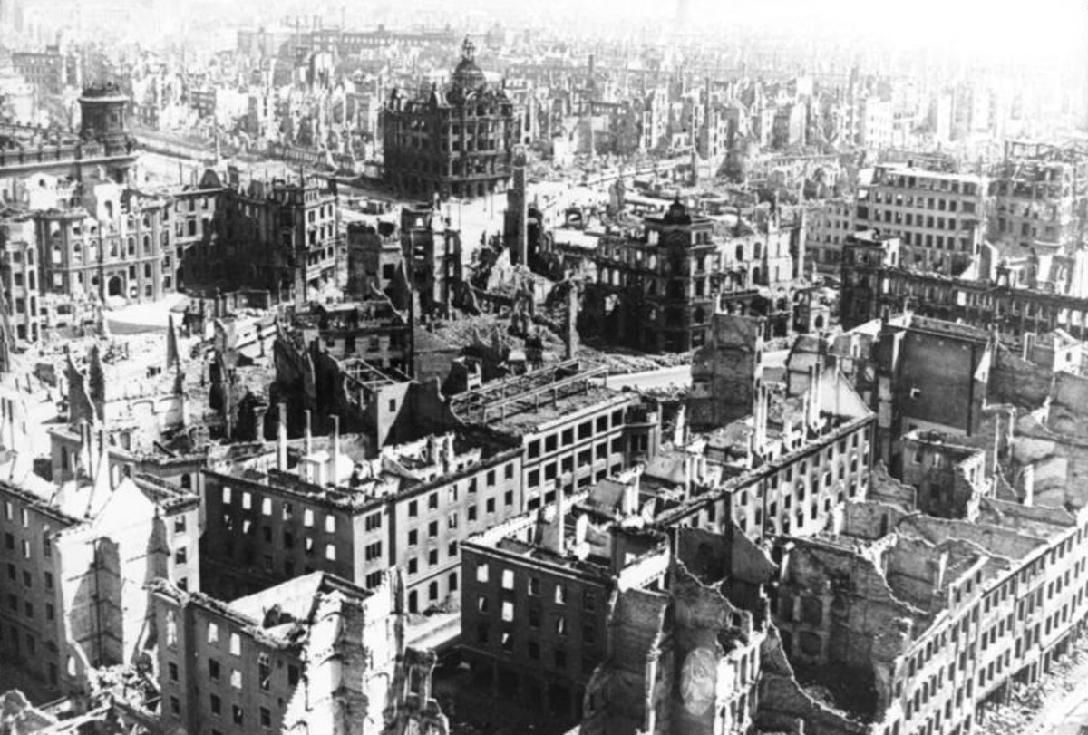 Dresden after the bombing, 90% of the city structure destroyed