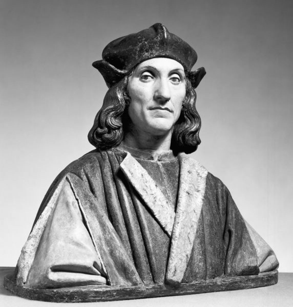 """A bust of Henry VII. I bet he's wondering: """"are you going to take my crown or how can I tax you?"""
