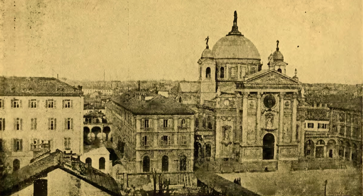 The Oratory founded by St. John Bosco. In addition to the school, workshops, and dormitory, St. John built the Basilica of Mary, Help of Christians, seen on the right.
