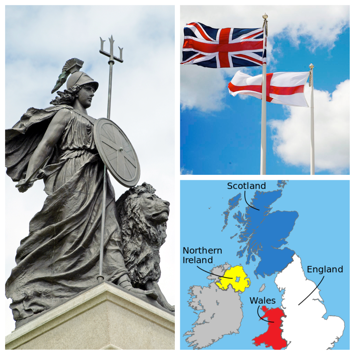 A Britannia sculpture, the flags of the UK and England, and a map of the United Kingdom