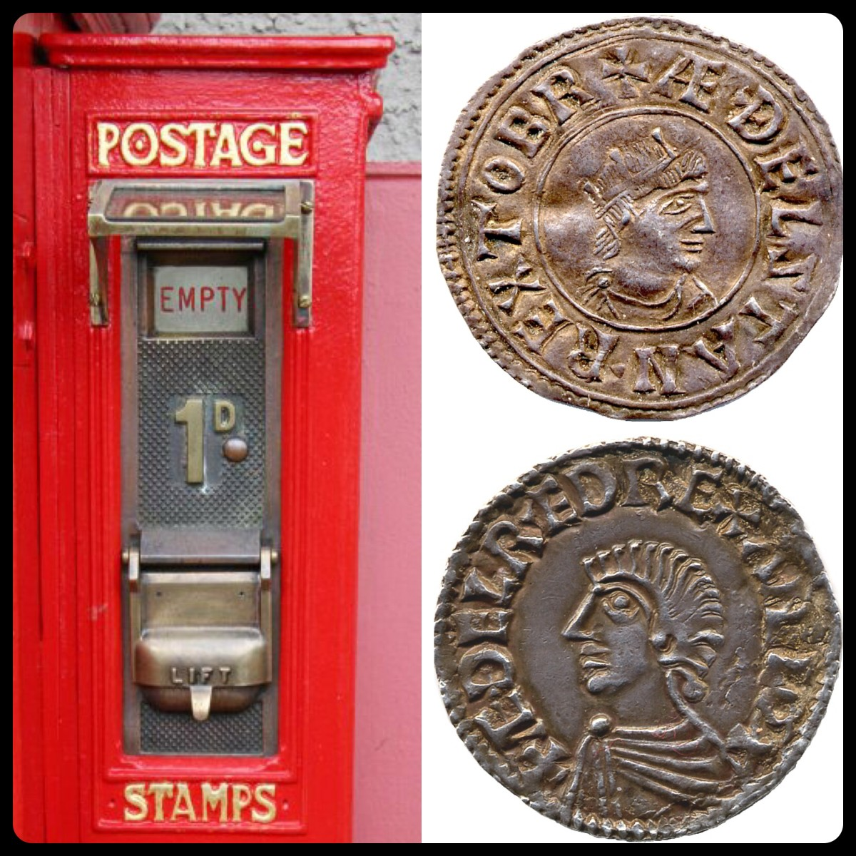 A penny stamp machine and two Anglo-Saxon pennies