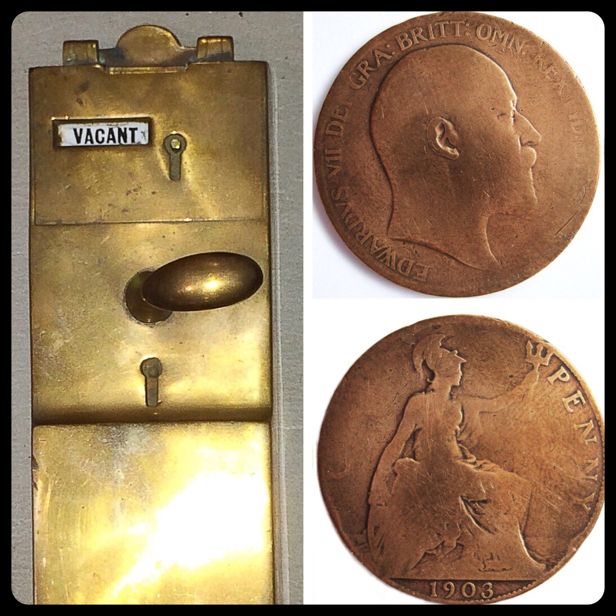 A penny-in-the-slot device from an old toilet plus the two sides of a 1903 penny