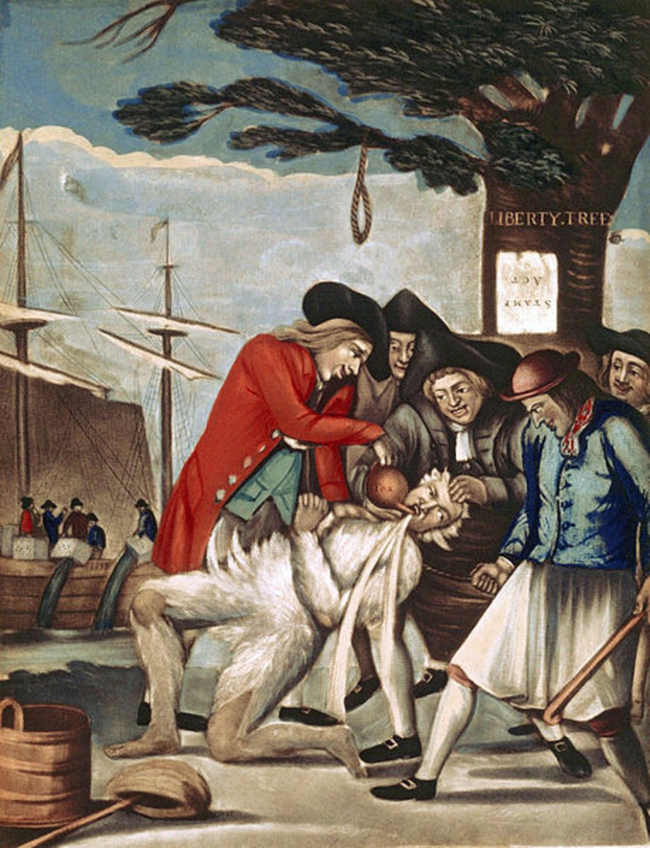 The Bostonians Paying the Excise-man, or Tarring and Feathering. Painting by Philip Dawe, 1774.