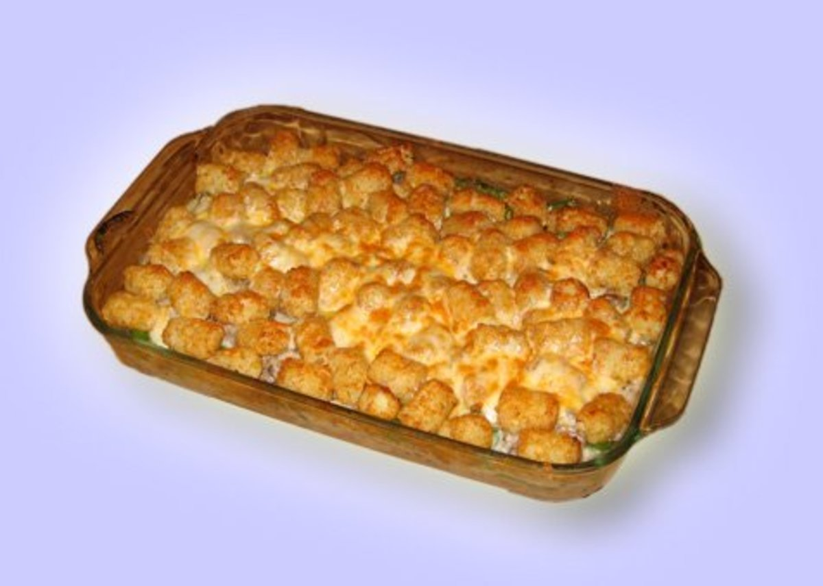 Behold! Authentic tater tot hotdish!