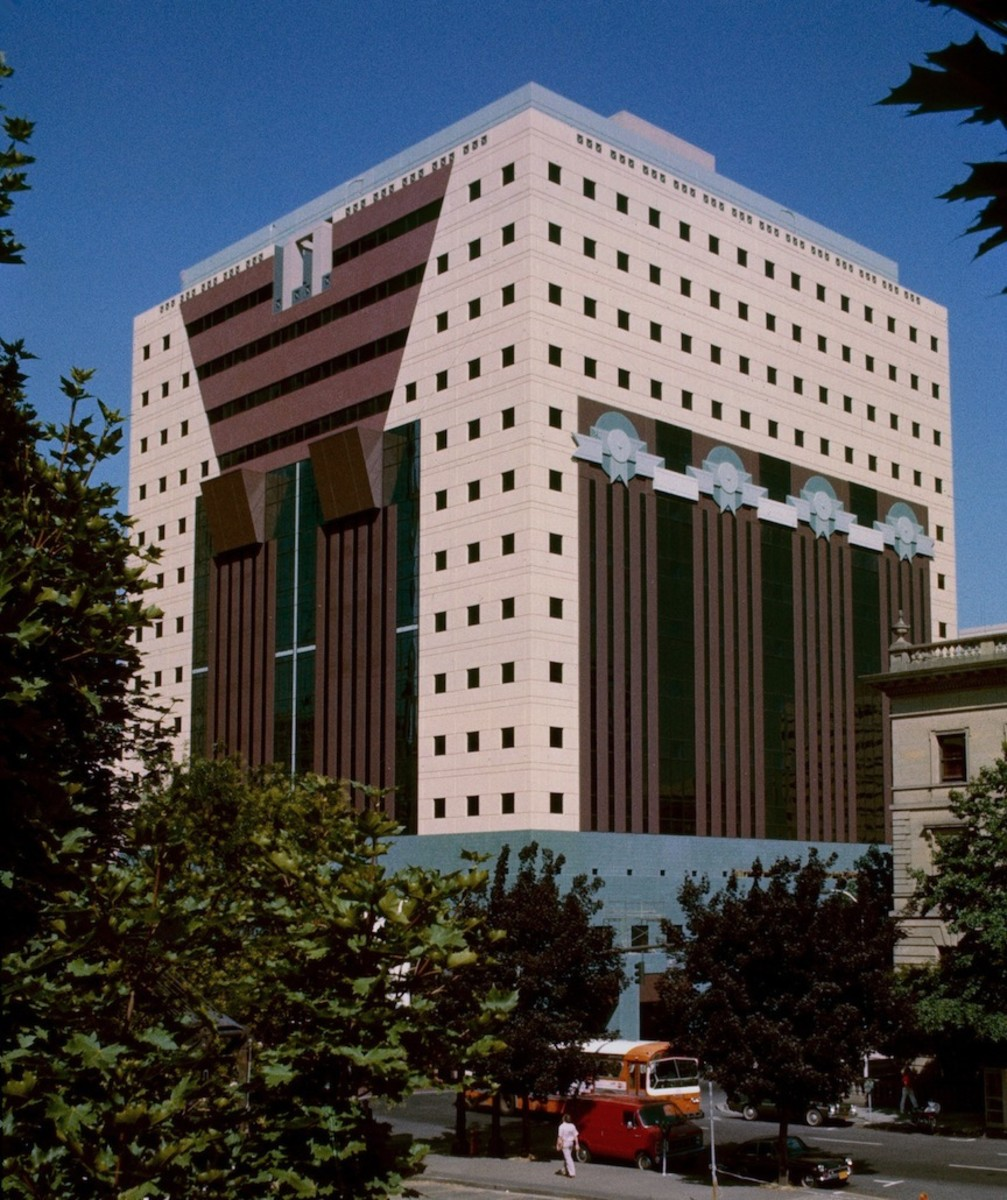 The Portland Building, in Portland, Oregon. An example of postmodern architecture.