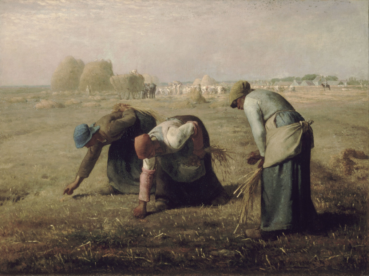 Jean-François Millet - Gleaners, 1857. This is a realist painting. You may want to compare it with modern art.