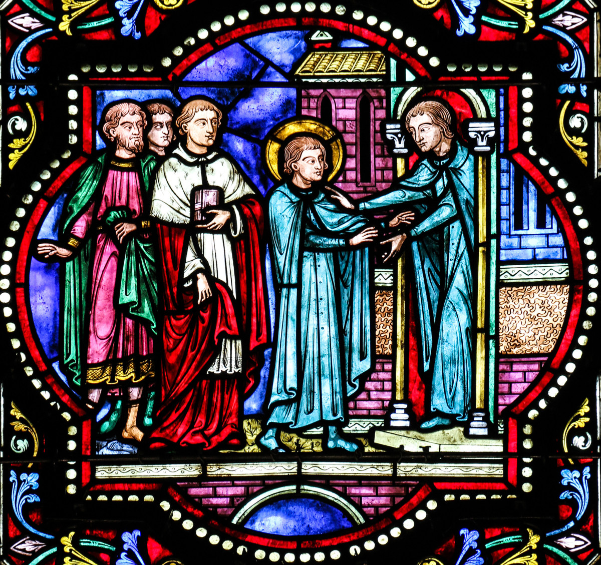A beautiful stained glass from Lille Cathedral, depicting St. Aloysius' entrance into the Jesuit Order.