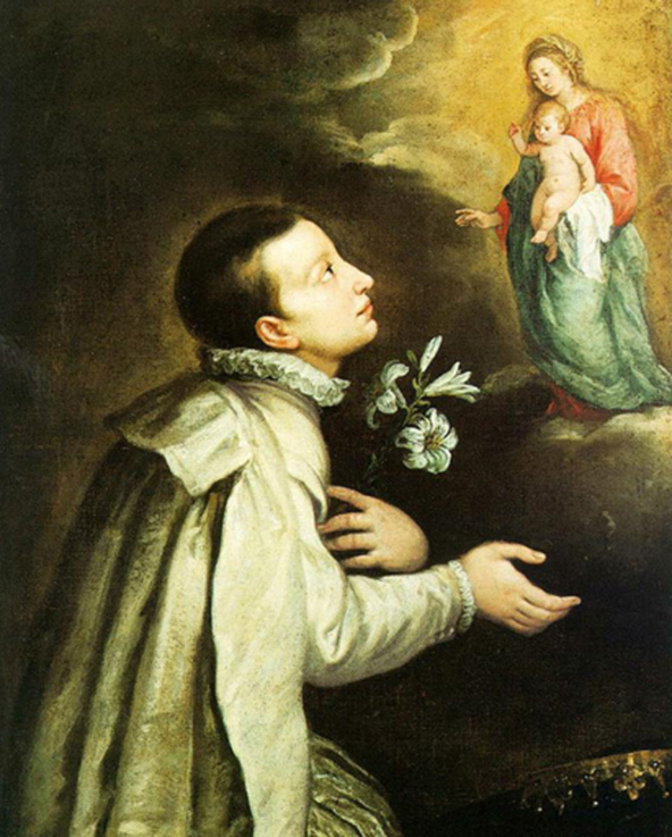 Aloysius had great devotion to the Virgin Mary. This painting is by the 17th century artist, Carlo Francesco Nuvolone. The lily of purity is one of Aloysius' symbols.
