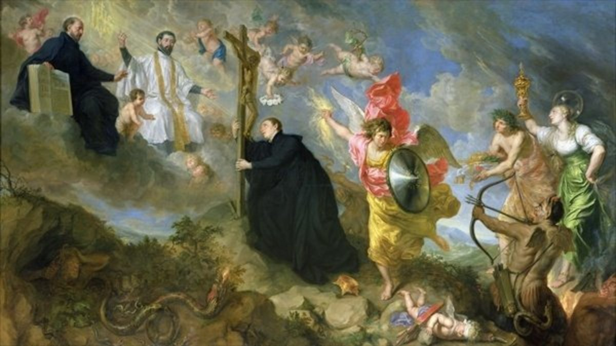 An allegorical painting by Theodore Boeyermans, depicting St. Aloysius pronouncing his vows. St Ignatius and St. Francis Xavier are in the firmament while the world, flesh(cupid), and the Devil try to prevent him. Note the crown on the ground.