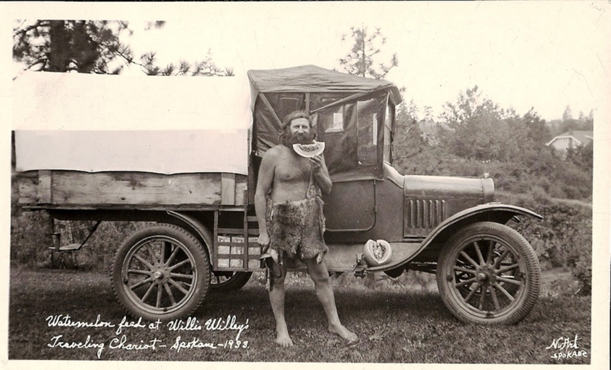 "In this 1933 photo, Willis Ray ""Willie"" Willey is wearing a pair of animal skin shorts he made - in place of his usual khaki shorts."