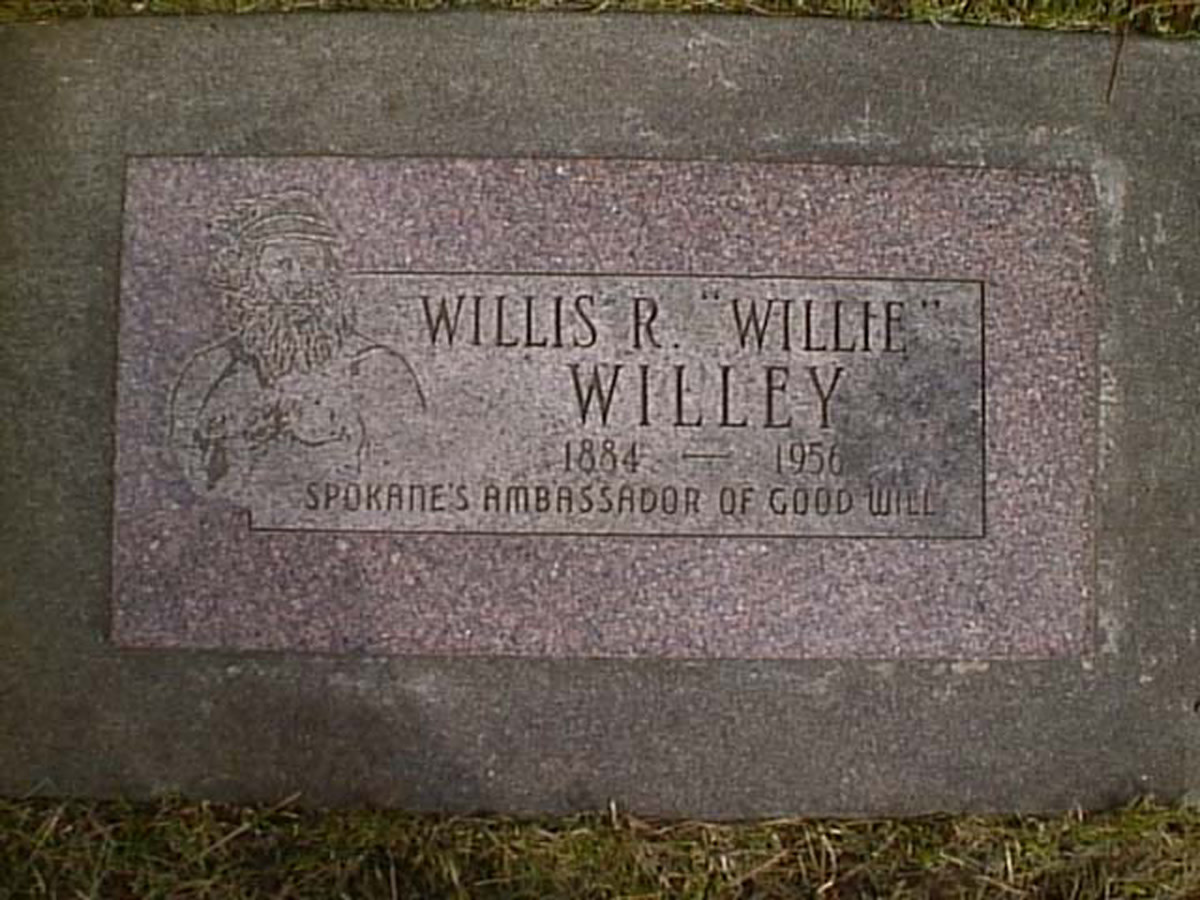 "Willis Ray ""Willie"" Willey was killed in an automobile accident in Spokane in 1956.  He was given one of the better plots in Fairmount Cemetery, and Washington Monumental company donated the stone. He was admired by many people."