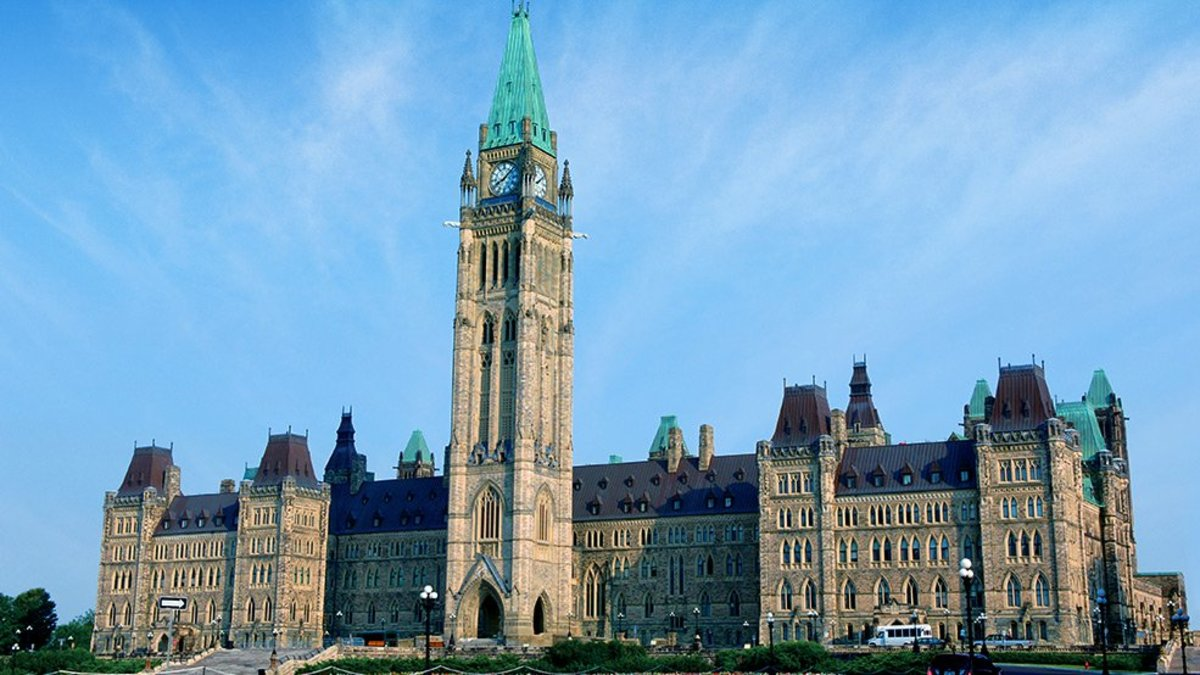 The Centre Block of Canada's Parliament is dominated by the Peace Tower. Incidentally, the capital of Canada was located far from the American border to discourage invasion.
